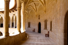 Castle Bellver in Majorca at Palma of Mallorca. Bellver Castle Castillo cloister corridor in Majorca at Palma de Mallorca Balearic Islands Royalty Free Stock Photo