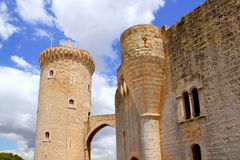 Castle Bellver in Majorca at Palma of Mallorca. Bellver Castle Castillo tower in Majorca at Palma de Mallorca Balearic Islands Royalty Free Stock Photo