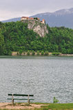 Castle and bench in Bled Royalty Free Stock Photography