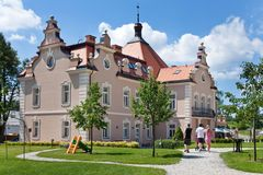 Castle Berchtold from 1877 and park with model miniatures of czech landmarks, Benice, Vidovice village, Czech republic. CZECH REPUBLIC, KUNICE - JUN 15, 2015 Stock Photos
