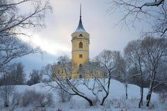 Castle Bip in a gloomy winter landscape. Saint-Petersburg Stock Photo