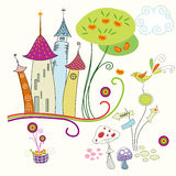Castle and bird stock illustration