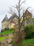 Castle of Biron (France ). Western view of the castle of Biron in spring Royalty Free Stock Image