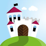 Castle with black flags Royalty Free Stock Photo