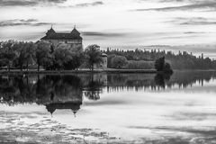 Castle in Black and White Stock Photo