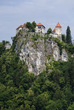 Castle in Bled on the mountain. Stock Photo