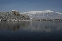 Castle of Bled and Mt. Stol. In the winter,seen from the shore of lake  Bled Stock Photo