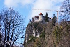 The Castle of Bled in Slovenia on the rock over the Bled Lake stock photos