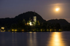 Castle Bled. In the summer night Royalty Free Stock Photo