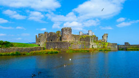The castle between blue. The Caerphilly Castle at South Wales between blue Royalty Free Stock Photo