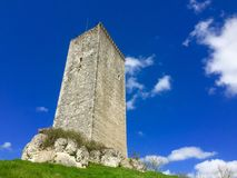 Castle and blue sky with clouds. Castle against a blue sky with clouds. Location France royalty free stock images