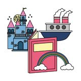 World book day. Castle boat rainbow textbook world book day royalty free illustration