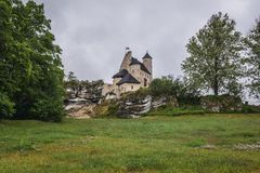 Castle in Bobolice. Outside view of Bobolice Castle in small Bobolice village on the Trail of Eagles Nests in Poland Stock Photography
