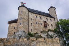 Castle in Bobolice. Outside view of Bobolice Castle in small Bobolice village on the Trail of Eagles Nests in Poland Stock Image