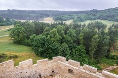 Castle in Bobolice. View from terrace of Bobolice Castle in small Bobolice village on the Trail of Eagles Nests in Poland Stock Photos