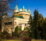 Castle Bojnice. Old Bojnice castle in Slovakia build in 1113.  It is a Romantic castle with some original Gothic and Renaissance elements Royalty Free Stock Photo