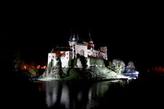 Castle of Bojnice by night. Slovakia´s most beautiful castle Stock Photos