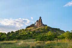 Castle of Boldogko on hilltop in sunset, Hungary Royalty Free Stock Images