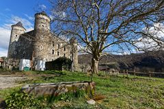 The castle of Bon Repos in countryside. JARRIE, FRANCE, April 1st, 2018 : The castle of Bon Repos is a former strong house of XV century. Castle including the Royalty Free Stock Photography