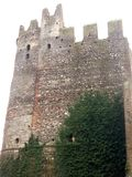 Castle in Borghetto. High stone wall of the castle in Borghetto with loopholes, with teeth on the tower. Below is growing green ivy Royalty Free Stock Photos