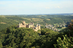 Castle of Bourscheid in the Luxembourg. Medieval castle at the heart of the Luxembourg Stock Image
