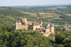 Castle of Bourscheid in the Luxembourg. Medieval castle at the heart of the Luxembourg Royalty Free Stock Image