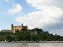 Castle of Bratislava. And Danube River Royalty Free Stock Image