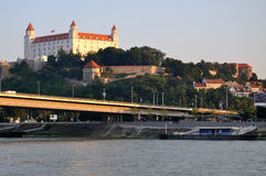 Castle in Bratislava. Castle and river Danube in Bratislava - Slovakia royalty free stock photo