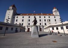 Castle of Bratislava. One of most beautiful Slovak castle, with sculpture of duke Svatopluk Stock Image