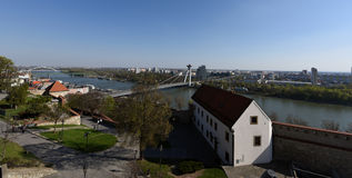 Castle of Bratislava. A view from Bratislava Castle on the Danube and urban district Petržalka Royalty Free Stock Image