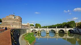 Castle and Bridge of Angels, Rome, Italy Royalty Free Stock Images