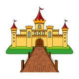 Castle with a bridge. Castle Cartoon Drawing Illustration. royalty free illustration
