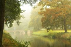 Castle bridge in the mist Royalty Free Stock Photos