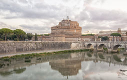 Castle and bridge of Sant'Angelo in Rome Royalty Free Stock Photography