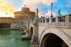 Castle and Bridge Sant'Angelo in Rome Stock Images