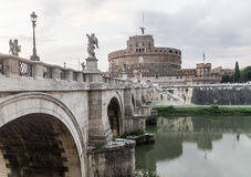The castle and bridge Sant`Angelo, Rome Stock Photos
