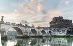 The castle and bridge Sant`Angelo, Rome Royalty Free Stock Images