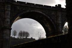 Castle bridge silhouette England stock images