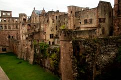 Castle broken walls and internal garden royalty free stock photo