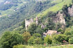 Castle Brunnenburg and mountain panorama in Tirol, South Tyrol. Italy Stock Photo