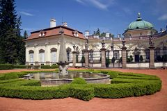 Castle in Buchlovice - Czech Republic. Buchlovice castle - part of the garden with a fountain Stock Images