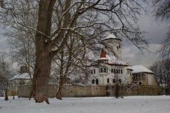 Castle Budatin το χειμώνα, Σλοβακία Στοκ φωτογραφίες με δικαίωμα ελεύθερης χρήσης
