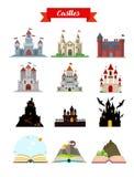 Castle buildings flat set vector illustration Royalty Free Stock Photos