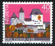 Castle Burgdorf. SWITZERLAND - CIRCA 1978: stamp printed by Switzerland, shows castle Burgdorf, circa 1978 stock image