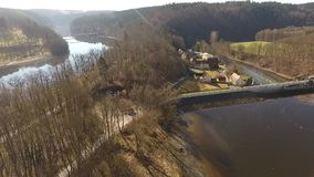 The Castle Burgk in Germany aerial view. Historical stock video footage