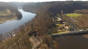 The Castle Burgk in Germany aerial view. Historical stock video