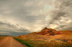Castle Butte in Big Muddy Valley Stock Images