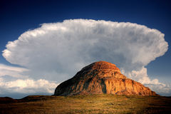 Castle Butte in Big Muddy Valley Stock Image