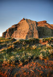 Castle Butte in Big Muddy Valley Stock Photo