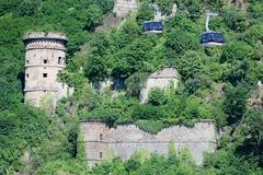 Castle and Cable Car Royalty Free Stock Photos